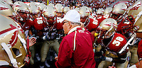 TALLAHASSEE, FL 9/7/09-FSU-MIAMIFB09 CH61-Florida State Head Coach Bobby Bowden talks to his players prior to the Miami game Monday at Doak Campbell Stadium in Tallahassee. The Seminoles lost to the Hurricanes 38-34...COLIN HACKLEY PHOTO