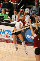 3 December 2005: Erin Waller during Stanford's 3-1 loss to Santa Clara University at Maples Pavilion in Stanford, CA.