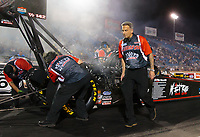 May 31, 2019; Joliet, IL, USA; Crew chief Aaron Brooks for NHRA top fuel driver Dom Lagana during qualifying for the Route 66 Nationals at Route 66 Raceway. Mandatory Credit: Mark J. Rebilas-USA TODAY Sports