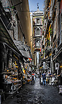 Via San Gregorio Armeno in Naples, with shops dedicated to the nativity scenes and figurines, Italy
