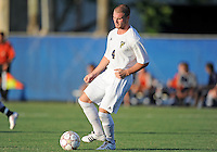 Florida International University men's soccer player Joseph Dawkins (4) plays against Nova University on August 26, 2011 at Miami, Florida. FIU won the game 2-0. .