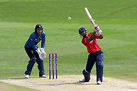 Varun Chopra hits four runs for Essex as Adam Rouse looks on from behind the stumps during Kent Spitfires vs Essex Eagles, Royal London One-Day Cup Cricket at the St Lawrence Ground on 17th May 2017
