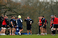 Forwards coach Neal Hatley speaks to his players. Bath Rugby training session on November 25, 2014 at Farleigh House in Bath, England. Photo by: Patrick Khachfe / Onside Images