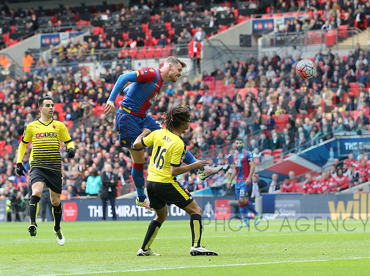 Crystal Palace's Connor Wickham scoring his sides second goal during the Emirates FA Cup, Semi-Final match at Wembley Stadium, London.  Photo credit should read: David Klein/Sportimage