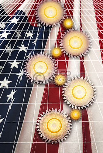 INTERLOCKING COG GEARS ON GRID OVER FLAG OF UNITED STATES OF AMERICA