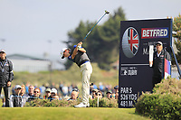 Renato Paratore (ITA) on the 2nd tee during Round 3 of the Betfred British Masters 2019 at Hillside Golf Club, Southport, Lancashire, England. 11/05/19<br /> <br /> Picture: Thos Caffrey / Golffile<br /> <br /> All photos usage must carry mandatory copyright credit (&copy; Golffile | Thos Caffrey)