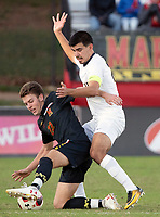 COLLEGE PARK, MD - NOVEMBER 03: Marc Ybarra #23 of Michigan defends against Nick Richardson #22 of Maryland during a game between Michigan and Maryland at Ludwig Field on November 03, 2019 in College Park, Maryland.
