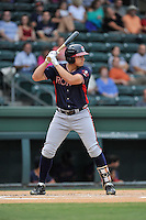 Third baseman Austin Riley (13) of the Rome Braves bats in a game against the Greenville Drive on Thursday, September 1, 2016, at Fluor Field at the West End in Greenville, South Carolina. Rome won, 3-2. (Tom Priddy/Four Seam Images)