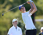 SIOUX FALLS, SD - SEPTEMBER 22:  South Dakota State University's Grant Smith watches his tee shot on the 9th hole Monday at the Jackrabbit Invitational at Minnehaha Country Club. (Photo/Dave Eggen/Inertia)