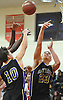 Joey Harclerode #23 of Sayville, right, tries to get a rebound during a Suffolk County varsity boys basketball game against host Amityville High School on Thursday, Jan. 5, 2017. Amityville won by a score of 81-73.