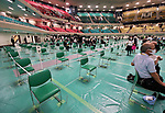 Chairs placed apart to maintain social distancing are seen at Nippon Budokan for the memorial service for the war dead of World War II marking the 75th anniversary in Tokyo, Japan on August 15, 2020. (Photo by AFLO)