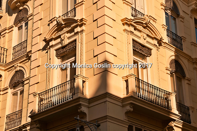 Architecture in Valencia; looking up at balconies on a street corner