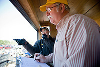 Auctioneer David Mast and Lion's Club Secretary/Treasurer Gene Taylor work the crowd at the Seaboard Auction.