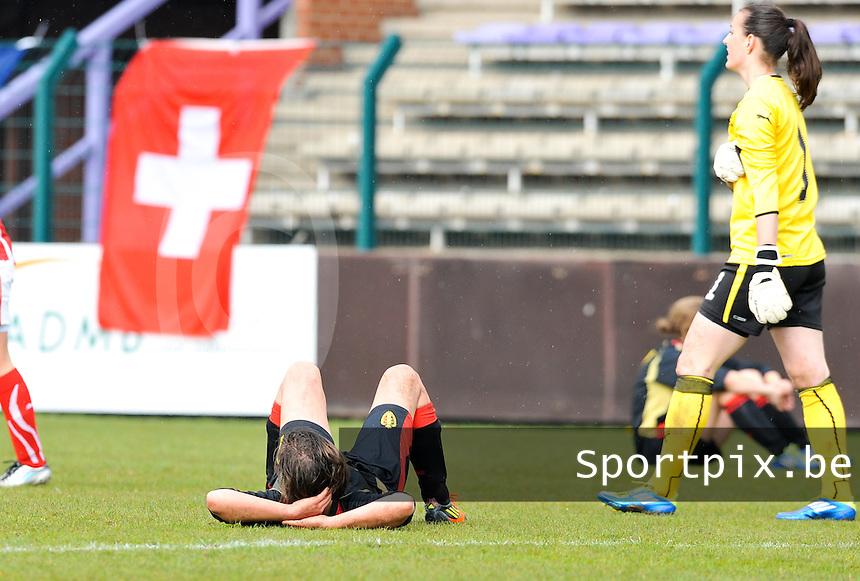 UEFA Women's Under 17 Championship - Second Qualifying round - group 1 : Switzerland - Belgium  : .grote ontgoocheling bij de belgen .foto DAVID CATRY / Vrouwenteam.be