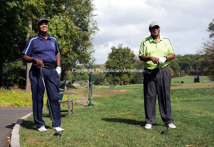 Waterbury, CT- 29 September 2015-092915CM02- <br /> James H. Gatling, left, president and CEO of New Opportunities, and Jim Eggleston of Wolcott share a laugh at the 6th tee, during the 21st annual Bobby Bonds Memorial Scholarship Golf Tournament at the Country Club of Waterbury on Tuesday.  The event, which is sponsored by New Opportunities Inc. is held to raise money for their scholarship programs.      Christopher Massa Republican-American