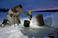 Ed Iten collects water from a hole in the lake ice for cooking his dog food in early morning at the Finger Lake during Iditarod 2008