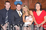 Celebrations  - Michelle & Bernard Lynch from Ballymac, centre, pictured at the Christening celebrations for their son Ri?an along with godparents Stephen Reidy and Catherine Barry in The Meadowlands Hotel on Saturday following the ceremony in Cloghers Church....................................................................................................................................................................................................................................................................................................................... ............
