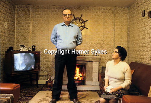 GERRY FITT WITH HIS WIFE AT HOME, Sir Gerry Fitt, founder of the SLDP and MP for West Belfast,