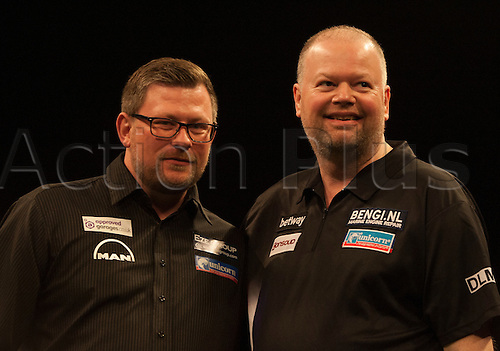 07.04.2016. The Sheffield Arena, Sheffield, England. Betway PDC Premier League Darts. Night 10.  Raymond van Barneveld [NED] congratulates James Wade [ENG] after their match.  Wade won the match.