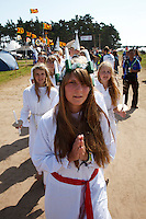 Swedish scouts in a traditional swedish Luciatåg at Cultural Festival Day at the World Scout Jamboree. Photo: Magnus Fröderberg/Scouterna