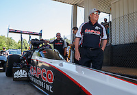 May 14, 2016; Commerce, GA, USA; Richard Hogan , crew chief for NHRA top fuel driver Steve Torrence during qualifying for the Southern Nationals at Atlanta Dragway. Mandatory Credit: Mark J. Rebilas-USA TODAY Sports