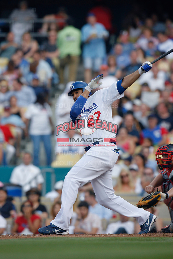 Matt Kemp of the Los Angeles Dodgers during a 2007 MLB season game at Dodger Stadium in Los Angeles, California. (Larry Goren/Four Seam Images)