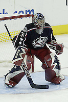 20 October 2006: Columbus Blue Jackets' Pascal Leclaire plays against the Toronto Maple Leafs at Nationwide Arena in Columbus, Ohio.<br />