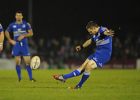 4th January 2014; Jimmy Gopperth, Leinster, scores a penalty to put his side ahead for the first time in the match. Rabodirect Pro12, Connacht v Leinster, Sportsground, Galway. Picture credit: Tommy Grealy/actionshots.ie.