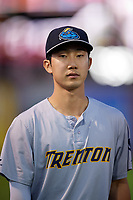 Trenton Thunder Hoy Jun Park (12) before an Eastern League game against the Reading Fightin Phils on August 16, 2019 at FirstEnergy Stadium in Reading, Pennsylvania.  Trenton defeated Reading 7-5.  (Mike Janes/Four Seam Images)