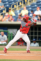 Clearwater Threshers outfielder Everett Williams (33) at bat during a game against the Dunedin Blue Jays on July 1, 2014 at Bright House Field in Clearwater, Florida.  Dunedin defeated Clearwater 1-0.  (Mike Janes/Four Seam Images)