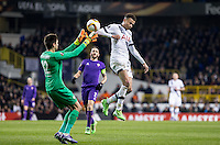 Dele Alli of Tottenham Hotspur goes up against Goalkeeper Ciprian Tatarusanu of Fiorentina during the UEFA Europa League 2nd leg match between Tottenham Hotspur and Fiorentina at White Hart Lane, London, England on 25 February 2016. Photo by Andy Rowland / Prime Media images.