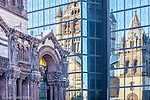Reflection of Trinity Church in Copley Square, Boston, MA, USA