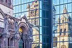 Reflection of Trinity Church in Copley Square, Boston, MA, USA