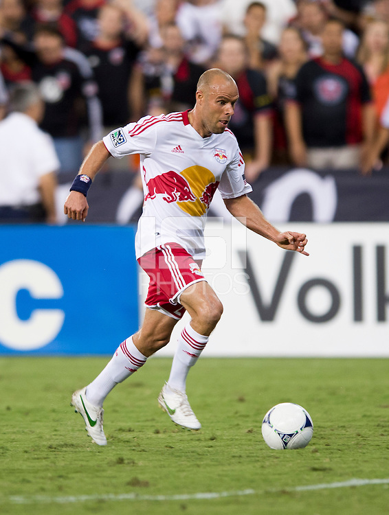 Joel Lindpere (20) of the New York Red Bulls sprints down the field during the game at RFK Stadium in Washington, DC.  D.C. United tied the New York Red Bulls, 2-2.