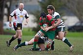 N. Jones is tackled by T. Tutuila. Counties Manukau Premier 1 McNamara Cup round 2 rugby game between Manurewa & Waiuku played at Mountfort Park, Manurewa on the 30th of June 2007. Manurewa led 19 - 3 at halftime and went on to win 31 - 3.