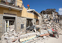 Collapsed buildings in the village of Amatrice, central Italy, hit by a magnitude 6 earthquake at 3,36 am, 24 August 2016.<br /> Una veduta degli edifici crollati dopo il terremoto che alle 3,36 del mattino ha colpito Amatrice, 24 agosto 2016.<br /> UPDATE IMAGES PRESS/Riccardo De Luca
