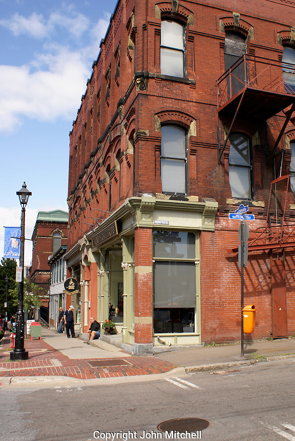 Victorian buildings on a street corner in the city of Saint John, New Brunswick, Canada
