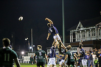 Freddie Clarke of London Scottish is held aloft in a line out during the Greene King IPA Championship match between London Scottish Football Club and Nottingham Rugby at Richmond Athletic Ground, Richmond, United Kingdom on 16 October 2015. Photo by David Horn.