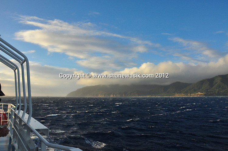 Looking towards the Northern coast of Raoul Island, Kermadecs from the expedition boat. The wind was circulating round the island on this day and prevented any diving.