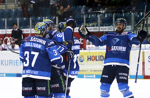28th September 2017, Saturn Arena, Ingolstadt, Germany; German Hockey League,  ERC Ingolstadt versus Eisbaren Berlin; Celebrations from the Ingolstadt player after their second goal