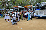 Large groups of school children visiting Polonnaruwa, North Central Province, Sri Lanka, Asia