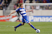 Dax McCarty (13) of FC Dallas. The New York Red Bulls defeated FC Dallas 2-1 during a Major League Soccer (MLS) match at Red Bull Arena in Harrison, NJ, on April 17, 2010.