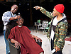Barbershop Chronicles <br /> A co-production with Fuel &amp; West Yorkshire Playhouse<br /> by Inua Ellams<br /> at the Dorfman Theatre, National Theatre, London, Great Britain <br /> Press photocall <br /> 6th June 2017 <br /> <br /> <br /> <br /> <br /> Fisayo Akinade<br /> <br /> <br /> Abdul Salis <br /> as Kwame <br /> <br /> Cyril Nri <br /> as Emmanuel <br /> <br /> <br /> Photograph by Elliott Franks <br /> Image licensed to Elliott Franks Photography Services