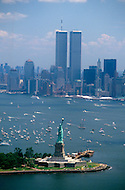 July 03, 1986, New york City - NY: Liberty Weekend was the celebration of the restoration and centenary of the Statue of Liberty. Downtown New York is visible with the World Trade Center prominent in the skyline.