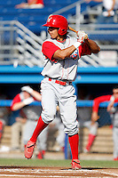 Williamsport Crosscutters outfielder Peter Lavin #43 during the first game of a doubleheader against the Batavia Muckdogs at Dwyer Stadium on August 23, 2011 in Batavia, New York.  Batavia defeated Williamsport 2-1.  (Mike Janes/Four Seam Images)