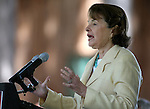 U.S. Sen. Dianne Feinstein speaks at the 18th annual Lake Tahoe Summit at the Valhalla Estate in South Lake Tahoe, Ca., on Tuesday, Aug. 19, 2014. <br /> Photo by Cathleen Allison