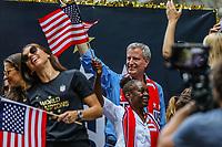 Nova York (EUA), 10/07/2019 -  Prefeito de Nova York Bill de Blasio recebe Seleção feminina de futebol dos Estados Unidos atual campeão da Copa do Mundo de Futebol Feminino 2019 na cidade de Nova York nesta quarta-feira, 10. (Foto: William Volcov/Brazil Photo  Press)