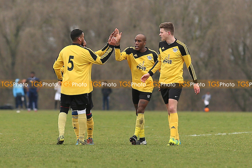 Boroughs celebrate their first goal during Boroughs United (yellow) vs South London Sharks, Hackney & Leyton Sunday League Jack Morgan Cup Semi-Final Football at Hackney Marshes on 19th February 2017