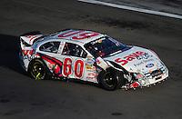 Mar 1, 2008; Las Vegas, NV, USA; Nascar Nationwide Series driver Carl Edwards after crashing during the Sams Town 300 at the Las Vegas Motor Speedway. Mandatory Credit: Mark J. Rebilas-US PRESSWIRE