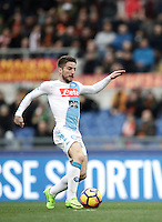Napoli&rsquo;s Dries Mertens prepares to score his first goal during the Italian Serie A football match between Roma and Napoli at Rome's Olympic stadium, 4 March 2017. <br /> UPDATE IMAGES PRESS/Isabella Bonotto